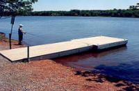 All plastic lumber dock in Greenlane Reservoir. Caulfield Assoc. replaced all the CCA pressure treated lumber docks at the request of Philadelphia Suburban Water Co.